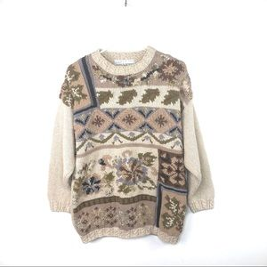 Vintage Hand Knit Chunky Winter Sweater Size L